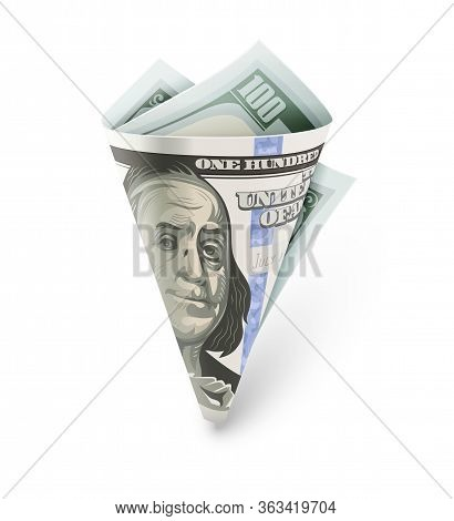Twisted Folded Paper Bag Origami Made Of Currency Banknote Of One Hundred American Dollars (usd), Is
