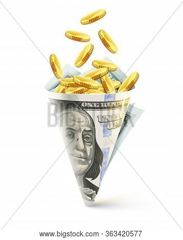 Twisted Folded Dollar Paper Bag Origami Made Of Currency Banknote Of One Hundred American Dollars Fi