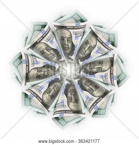 Star Flower Origami Of Twisted Folded Paper Currency Banknotes Of One Hundred American Dollars (usd)