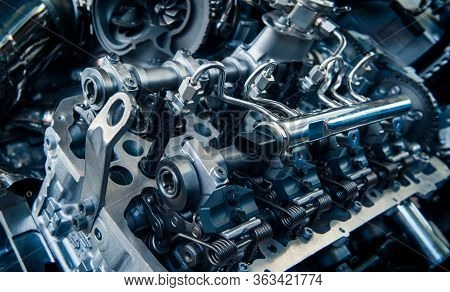 The Powerful Engine Of A Car. Internal Design Of Engine. Car Engine Part. Modern Powerful Car Engine