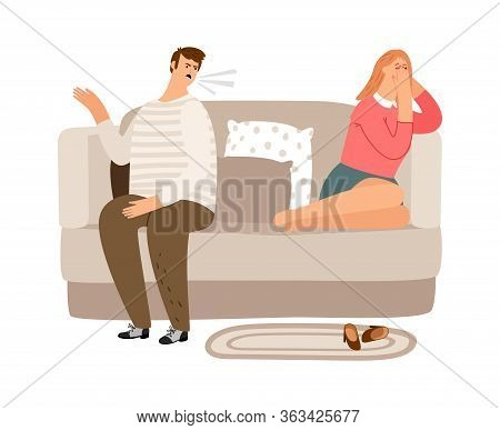 Displeased Man. Tired Woman On The Couch. Family Quarrel, Verbal And Psychological Abuse Vector Illu