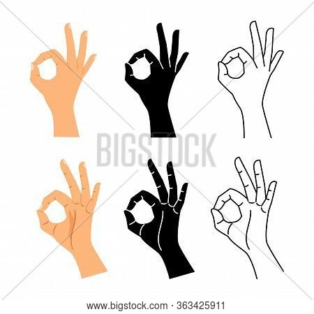 Hand Gesture. Ok Hand Sign Illustration. Isolated Okay, Agree Or Perfect Black Line Symbol Vector Se