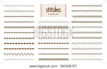 Stitch Set. Fabric Stitches Textures Isolated On White Background, Embroidery Sewing Threads Details