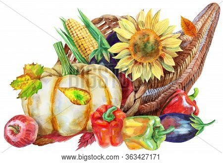 Watercolor Cornucopia Filled With Vegetables And Fruits On White Background
