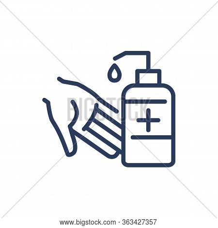 Disinfection Of Hands Thin Line Icon. Sanitizer, Antiseptic, Cleaning Isolated Outline Sign. Healthc