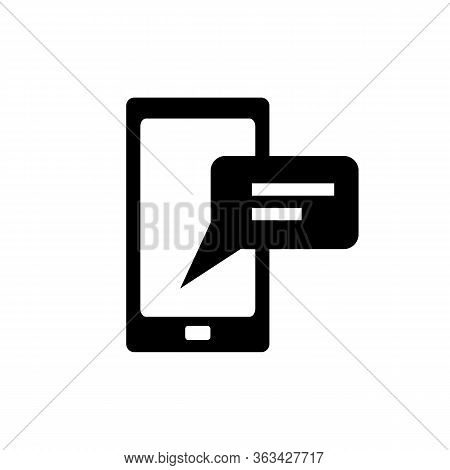 Simple Icon Of Mobile Phone With Message. Text Message, Application, Connection. Online Support Conc