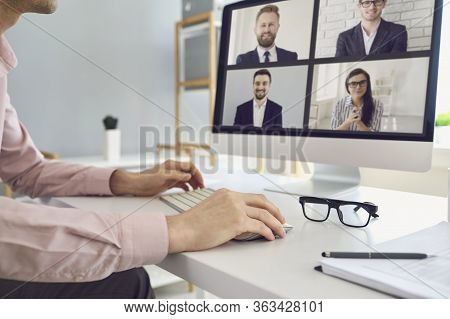 Online Job Business. Businesspeople Work Speak Analyze Analyze Using Computer Call Video Chat Sittin