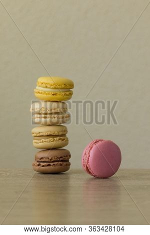 Colorful Macarons. Sweet French Cakes As A Pile.