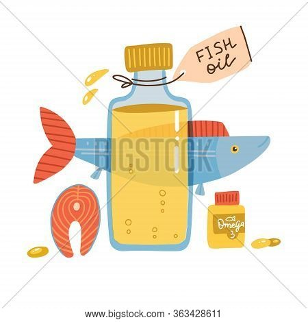 Fish Oil Items. Nutrition Omega 3 Fatty Acid Salmon Fish Natural Source. Trendyflat Design Illustrat