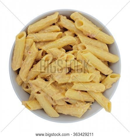 Above View Penne Pasta with Four Cheese Sauce with Clipping Path