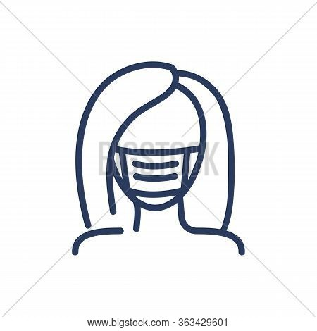 Woman In Medical Face Mask Thin Line Icon. Protection, Cloth, Barrier Isolated Outline Sign. Healthc