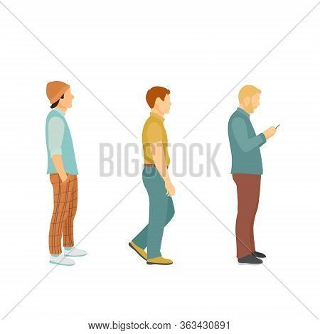 Three Men In Modern Clothes In Full Growth Stand In Line After Each Other, Cartoon Vector Illustrati
