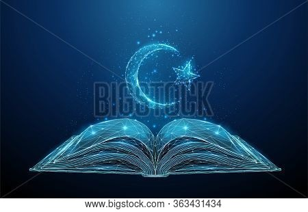 Abstract Open Korah Book With Islamic Symbol Crescent And Star