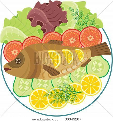 Dish with the baked fish on a white background. poster