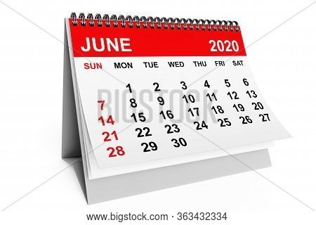 2020 Year June Calendar On A White Background. 3d Rendering