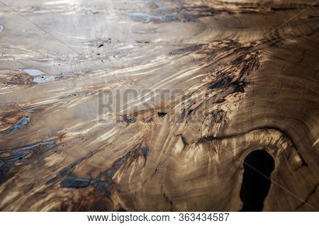 Wood Surface Cross Section Of Elm Tree. Live Slab Texture. Solid Elm Wooden Table With Epoxy Resin F