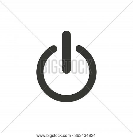 On, Off Icon In Trendy Flat Style Isolated On Grey Background. Shutdown Symbol For Your Web Site Des