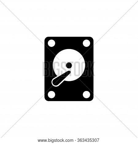 Hard Disk Drive, Hardware Hdd Storage. Flat Vector Icon Illustration. Simple Black Symbol On White B