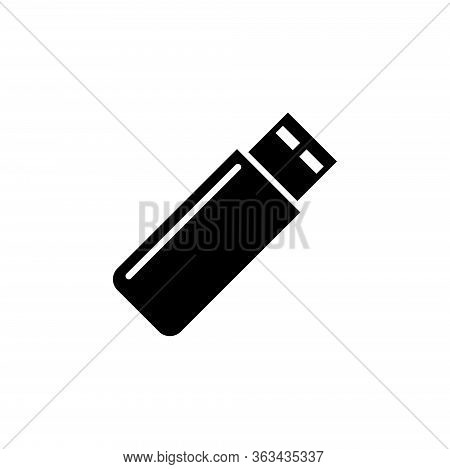 Usb Flash Drive, Portable Flash Storage. Flat Vector Icon Illustration. Simple Black Symbol On White