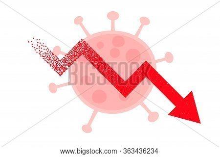 Downfall Arrow Due To Coronavirus Background Design