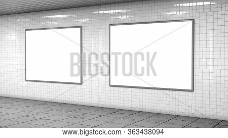 Blank Billboard Lightboxes Or Lcd Screens On White Tiles Wall. Empty Street Advertising Signboards I