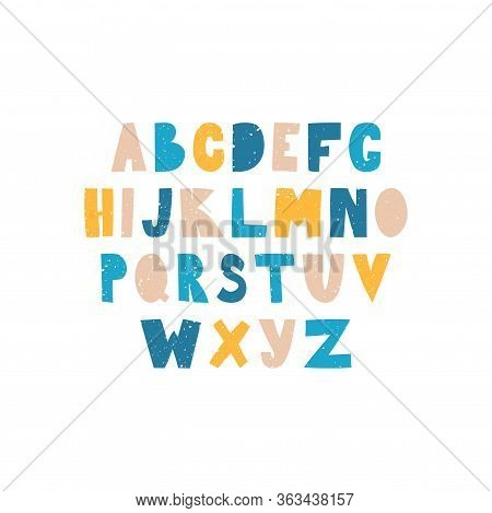 English Alphabet Drawn By Hand. Alphabet In A Simple Flat Style, Capital Letters Of The Latin Alphab