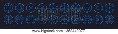 Set Of Aim Target Vector Icons For Web. Target And Aim, Targeting And Aiming. Different Icons Set Of