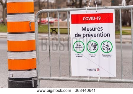 Montreal, Ca - 27 April 2020:  Covid-19 Safety Guideline French Sign On Masson Street