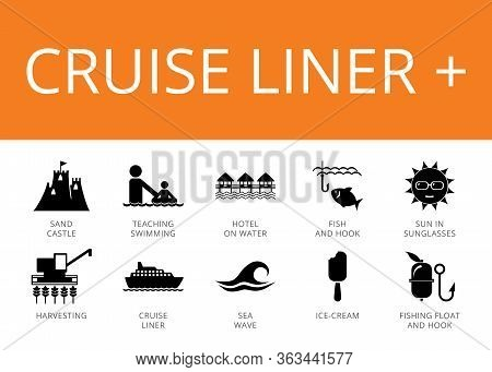 Cruise Liner Plus Icons Set With Sand Castle, Cruise Liner And Sea Wave. Ten Simple Icons