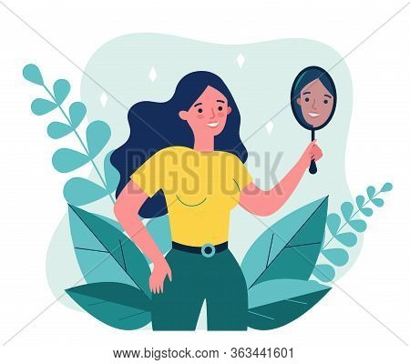 Self Centered Woman Suffering From Narcissism. Smiling Girl Looking At Herself In Mirror. Vector Ill