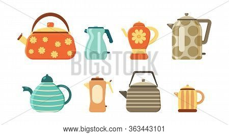 Flat Vector Set Of Tea Kettles. Collection Of Teapots And Kettles Isolated On White Background. Kitc