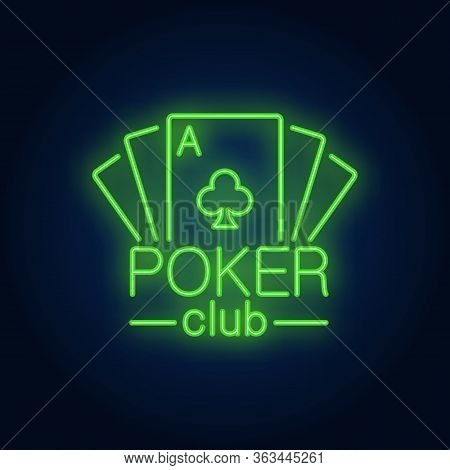Poker Card Lettering With Playing Cards. Neon Icon On Brick Background. Game, Nightclub, Casino. Gam
