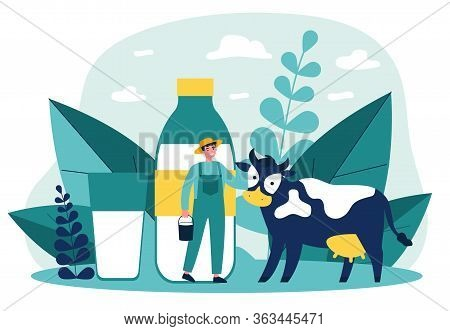 Happy Young Farmer Standing Near Cow Flat Vector Illustration. Man Holding Bucket With Milk. Fresh M