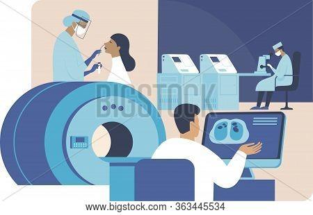 Coronavirus Covid-19 Diagnostics Research. Doctors Making Nasal Swab Test, Making Computer Tomograph