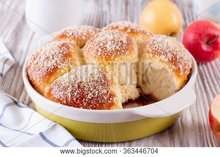 Fresh Tasty Bun With Crumb. Bun With Crumb. Bun Sprinkled With Crumbs.