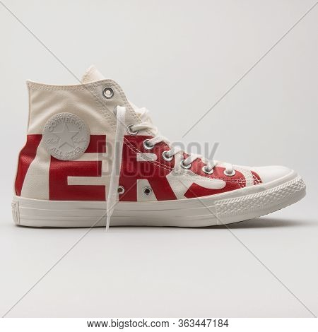 Vienna, Austria - February 19, 2018: Converse Chuck Taylor All Star High Cream And Red Sneaker On Wh
