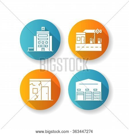Building Constructions Flat Design Long Shadow Glyph Icons Set. City Hospital Entrance. Gas Station