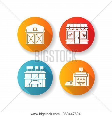 Buildings Flat Design Long Shadow Glyph Icons Set. Shopping Center With Signboards On Roof. Beauty S