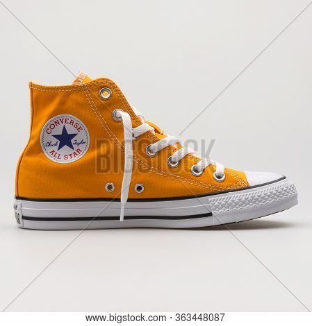 Vienna, Austria - February 19, 2018: Converse Chuck Taylor All Star High Orange And White Sneaker On