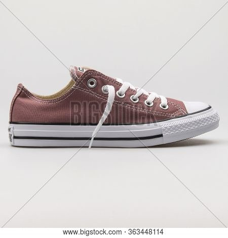 Vienna, Austria - February 19, 2018: Converse Chuck Taylor All Star Ox Bordeaux And White Sneaker On