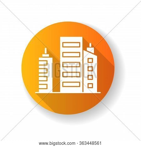 Business Building Orange Flat Design Long Shadow Glyph Icon. Multistorey Apartment Houses. Downtown