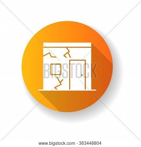 Slums Orange Flat Design Long Shadow Glyph Icon. Cracked Urban Construction. Poor Condition Of Resid