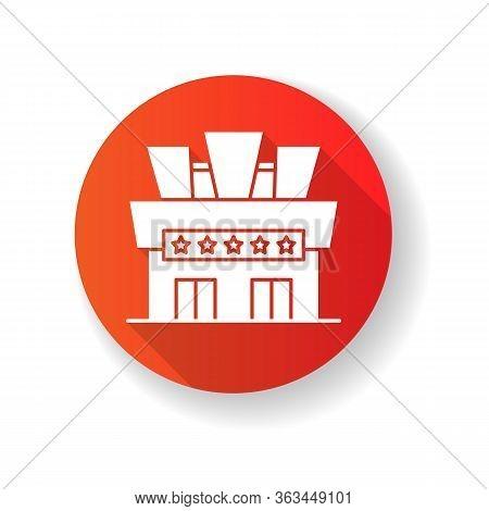 Cinema Red Flat Design Long Shadow Glyph Icon. Movie Theater Building Exterior. Entertainment Establ