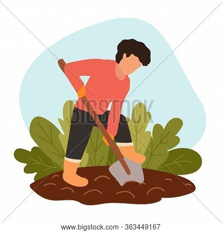 Man Digs Soil With Shovel On Farm. Person In Protective Gloves And Boots Grows Organic Food. Concept