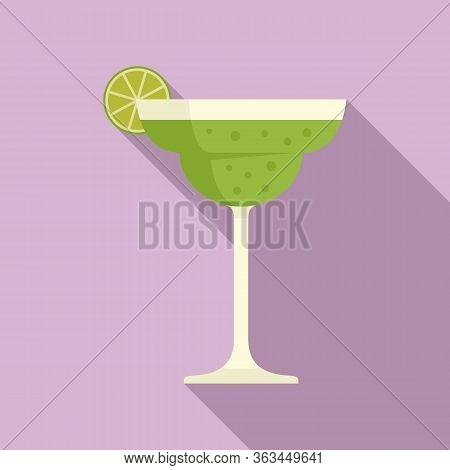 Tequila Lime Cocktail Icon. Flat Illustration Of Tequila Lime Cocktail Vector Icon For Web Design