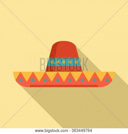 Mexican Sombrero Hat Icon. Flat Illustration Of Mexican Sombrero Hat Vector Icon For Web Design