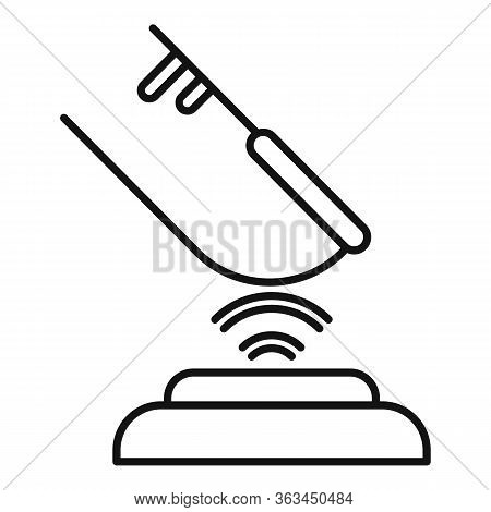 Finger Authentication Icon. Outline Finger Authentication Vector Icon For Web Design Isolated On Whi