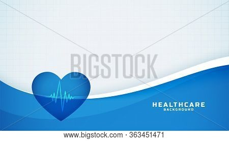 Heart With Cardiograph Line Medical Blue Background
