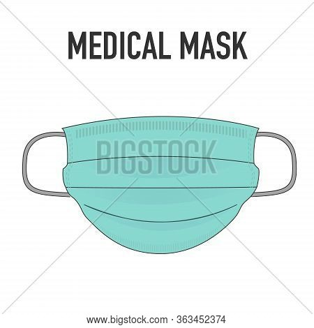 Medical Mask Isolated On Background. Surgical Mask. 3-ply Surgical Mask To Cover The Mouth And Nose.