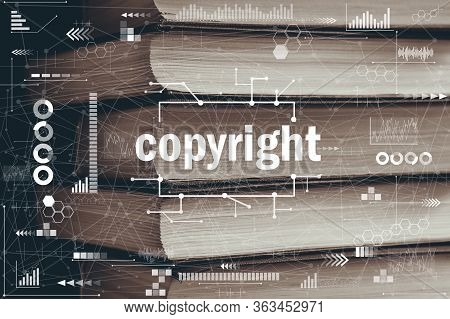 Abstract Copyright Concept Graphic On Books Background. Close Up.